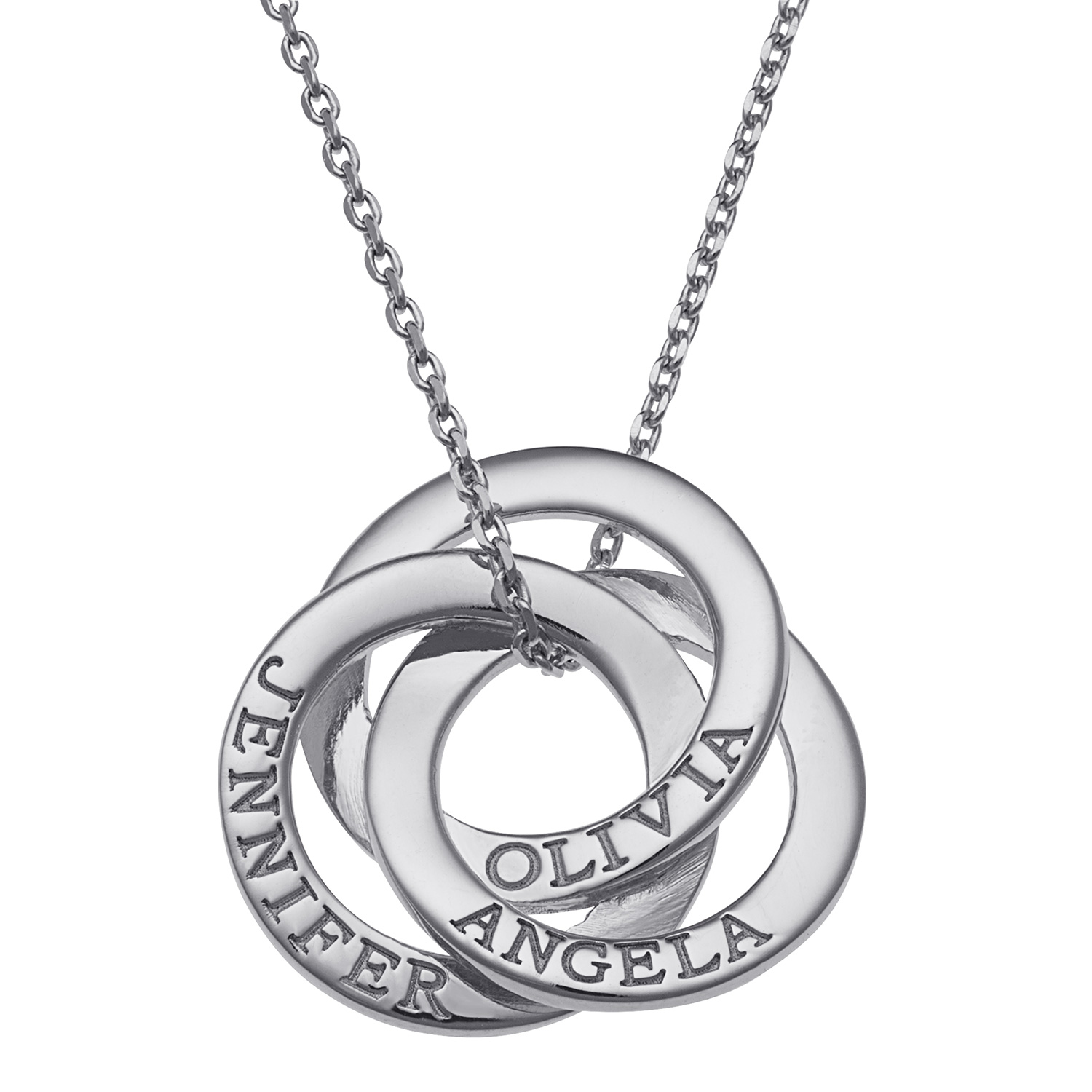 Family Jewelry Personalized Mother's Sterling Silver or Gold over Silver Interlocking Rings Engraved Names Necklace, 18""