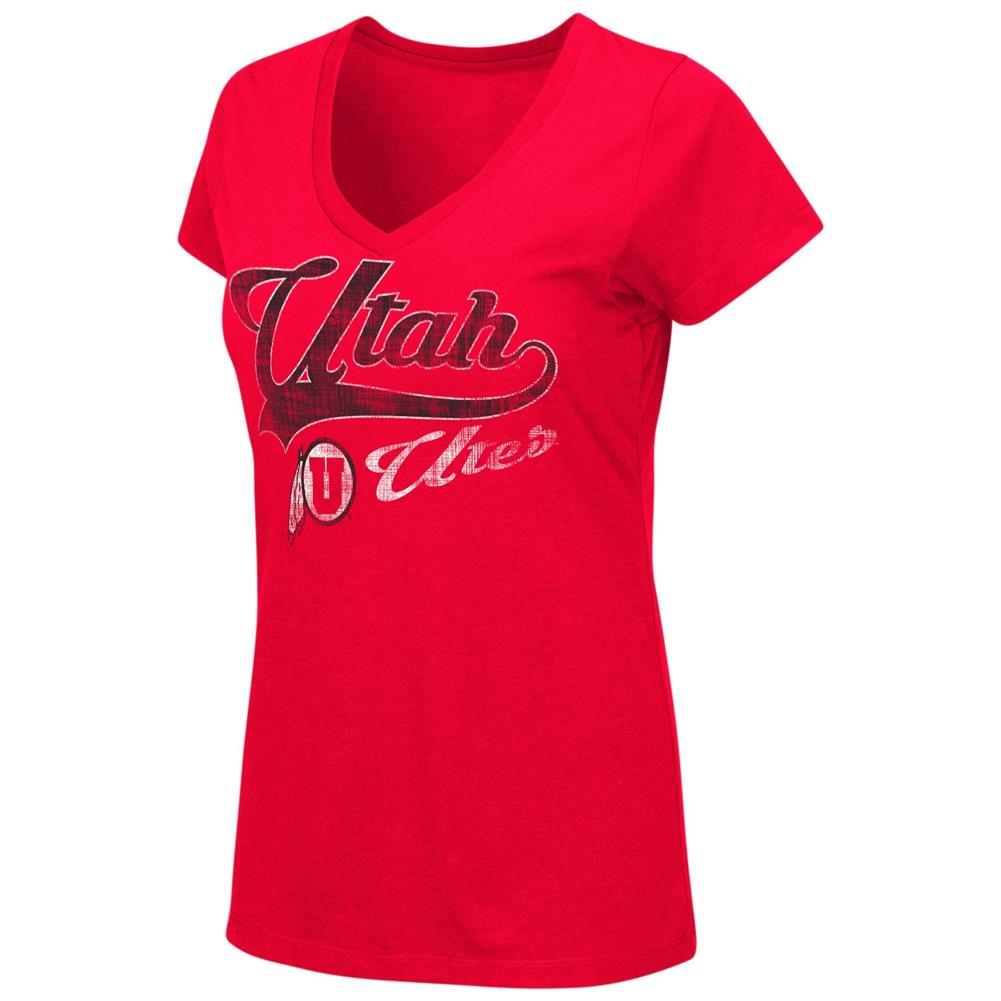 University of Utah Utes Women's Tee Short Sleeve V-Neck T-Shirt by Colosseum