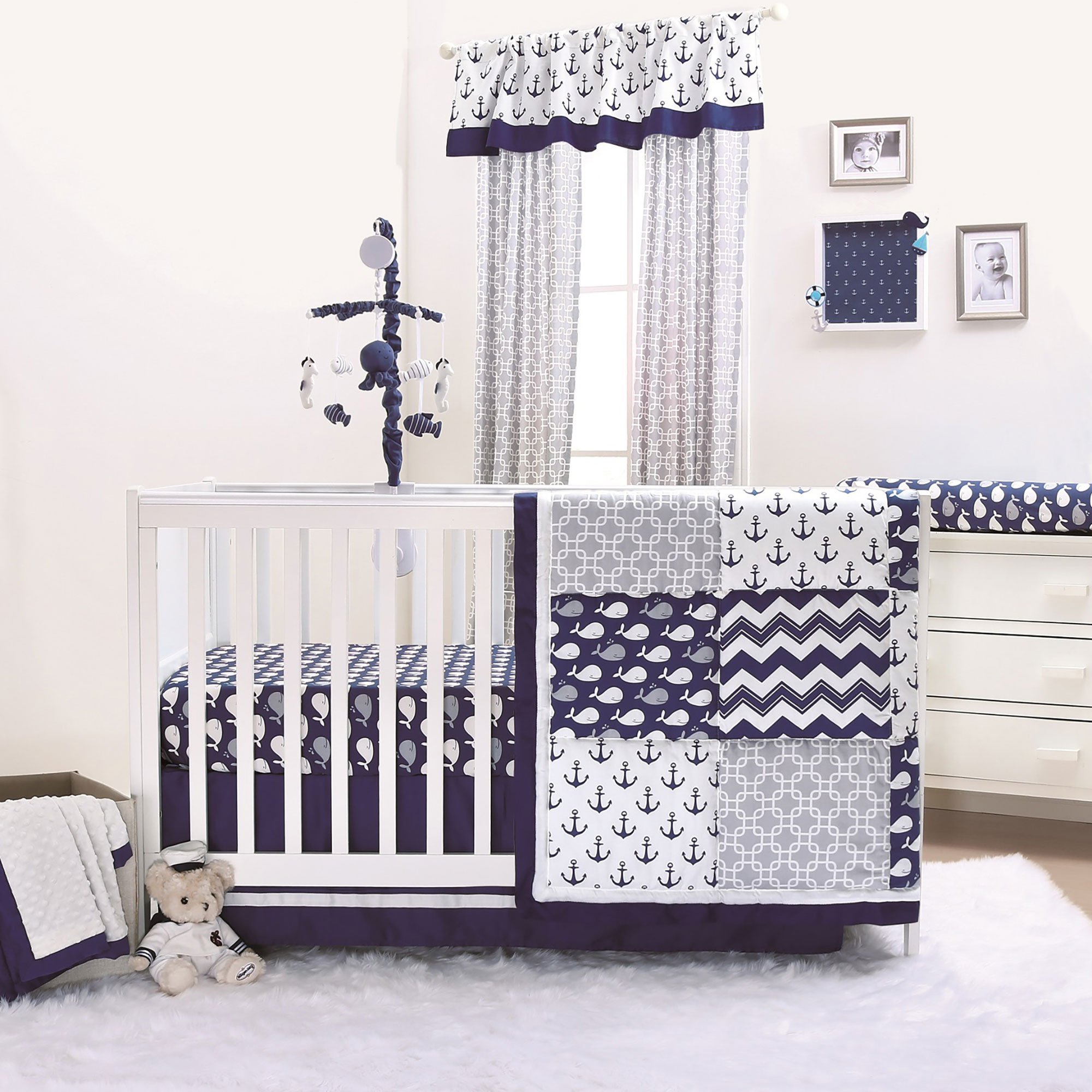 Nautical crib fitted sheet sailor cotton navy bedding baby boy nursery toddler transition bed 4 to 6 inches matress nursery