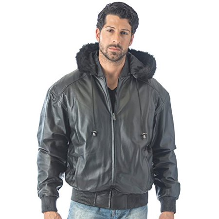 Reed Men's Detachable Hooded Faux Fur Leather Bomber Jacket With Baseball Style Collar (5X, (Guess Mens Faux Leather Detachable Hood Motorcycle Jacket)