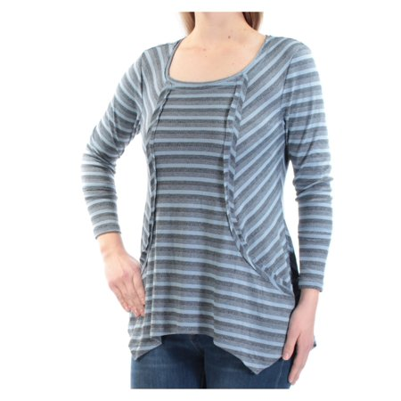 STYLE & CO Womens Blue Striped Long Sleeve Scoop Neck Handkerchief Top  Size: M