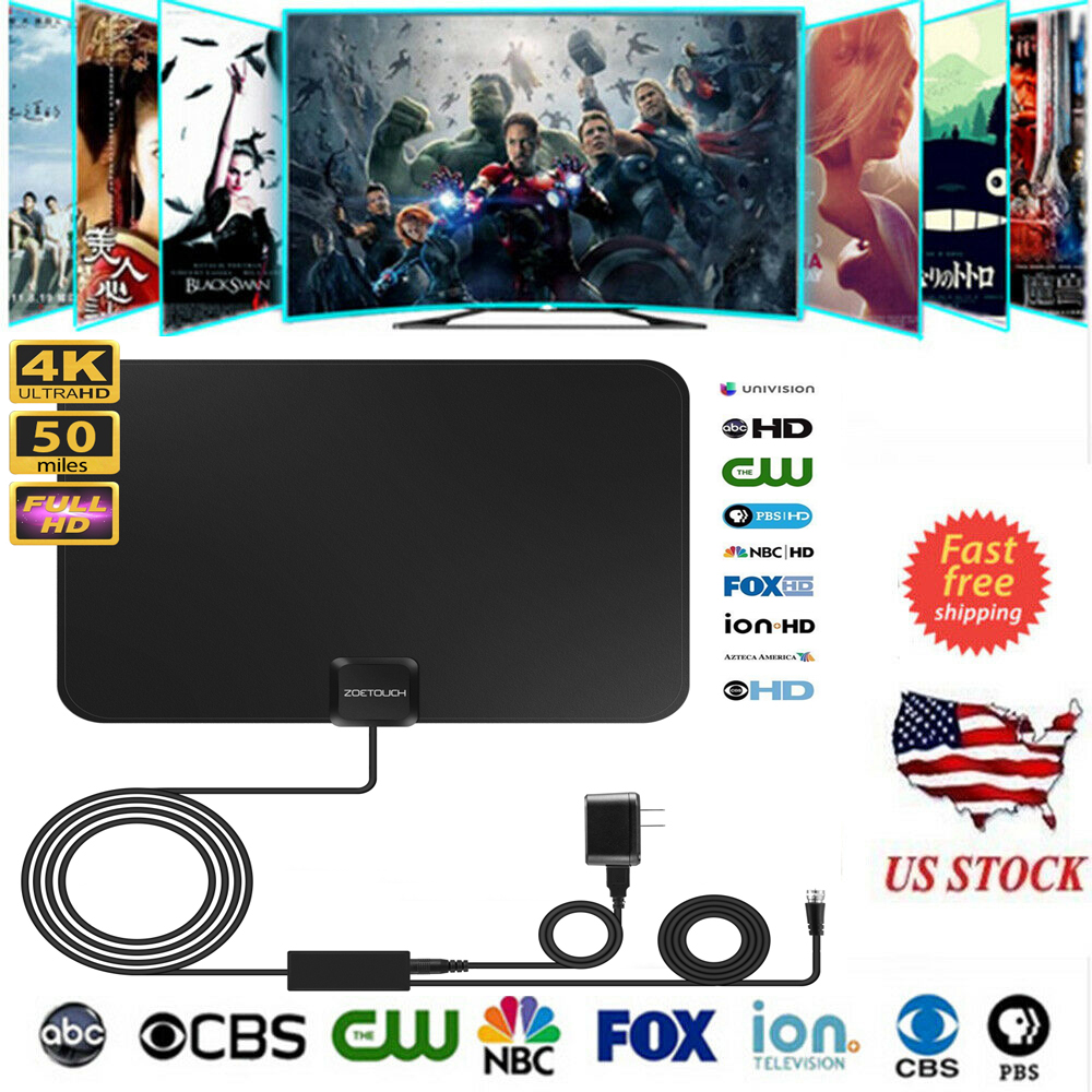 1Byone 50 Miles Range Flat HD Digital Indoor Amplified TV Antenna with Adapter