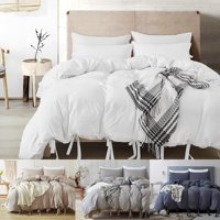 Natural Soild Color Washed Cotton Duvet Cover Set Bedspread Fitted Sheet Twin/Queen/King Bedding Set 4 Colors