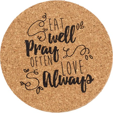 Precious Moments Bountiful Blessings Eat Well Pray Often Love Always Cork Coasters, 4-Piece Set 173416