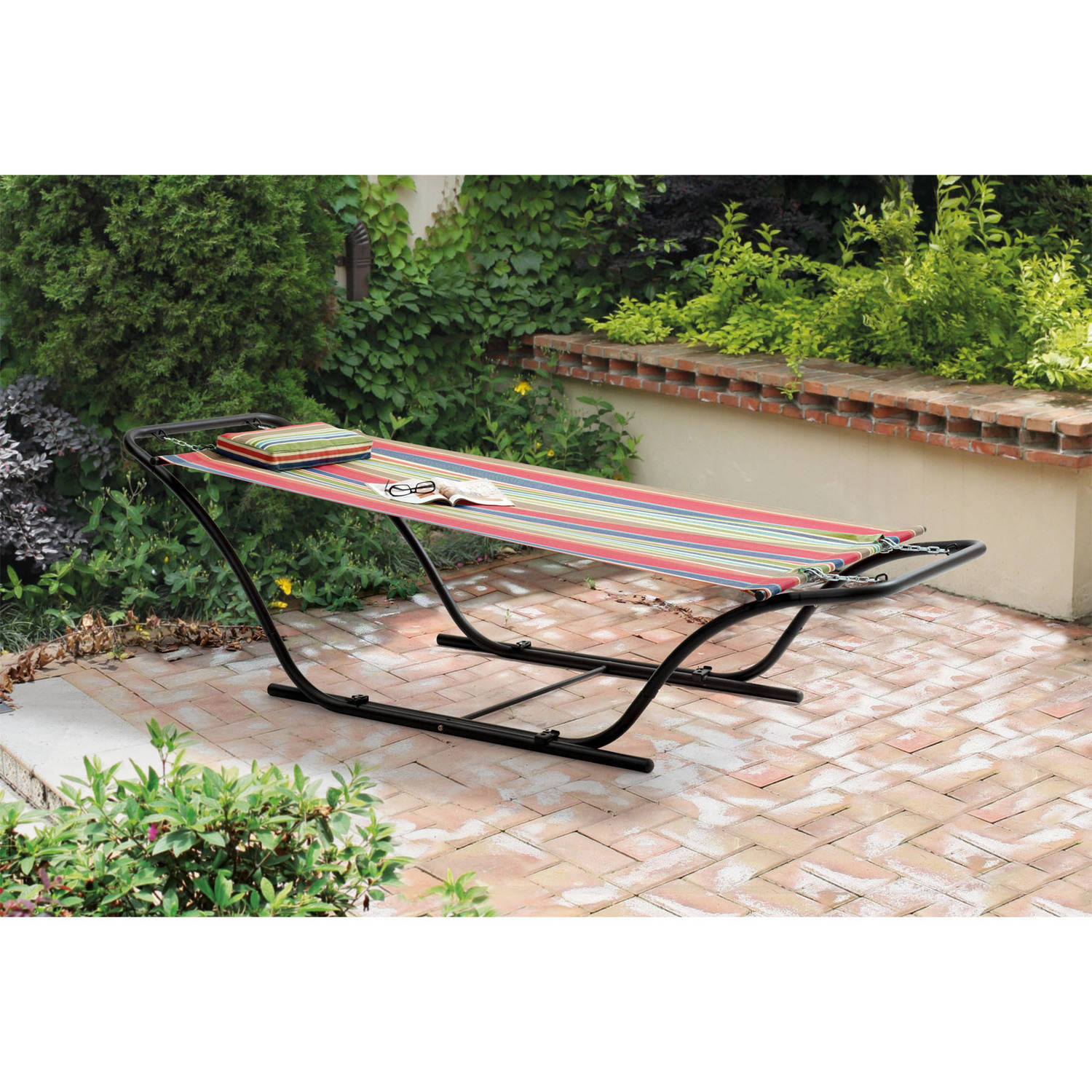 Mainstays Folding Sling Hammock with Stand, Red