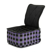 """Essential Oil Carrying Case, 4"""" High, 15-30ml, 30-Bottle, Pattern, Purple Check"""