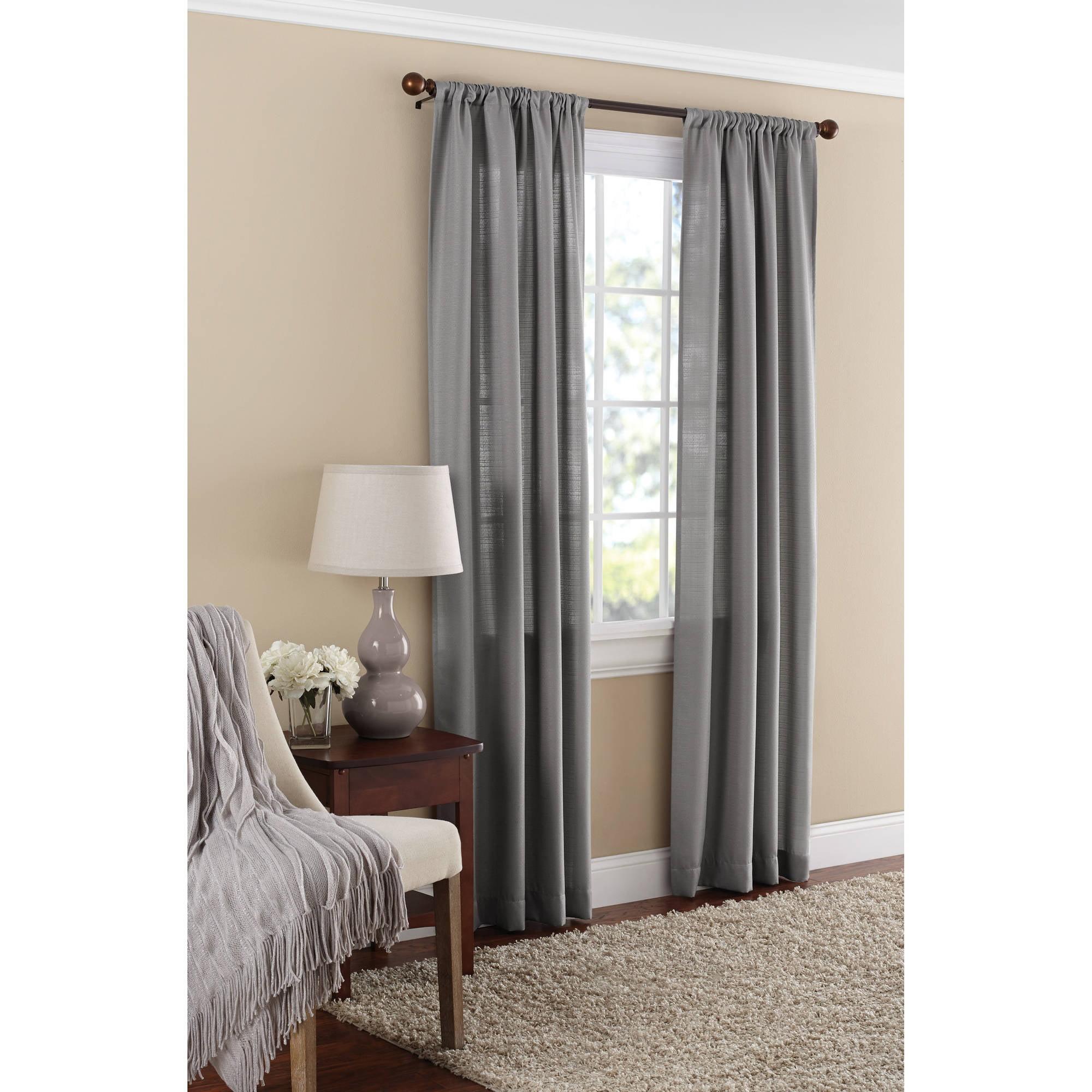 Attractive Mainstays Textured Solid Curtain Panel   Walmart.com
