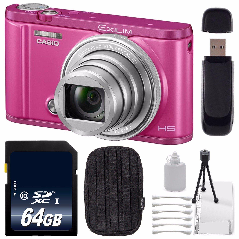 Casio Exilim Selfie Digital Camera EX-ZR3600VP (Vivid Pink) (International Version) No Warranty + 64GB SDXC Class 10 Memory Card + SD Card USB Reader + Small Case + Deluxe Cleaning Kit Bundle