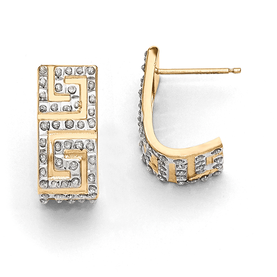 14k Diamond Fascination Greek Key Post J Hoop Earrings