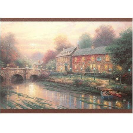 879356 Thomas Kinkade Lamplight Inn Bridge Wallpaper Border