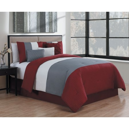 Manchester 7pc Comforter Set Queen Burgundy Grey White