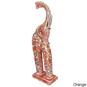 "Fotul Dotted Elephant Wood Statue (Indonesia) Elephant Fotul Dots Orange 24"""