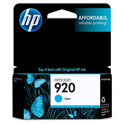 HP 920 Cyan Original Ink Cartridge (920 Cyan Officejet Ink)