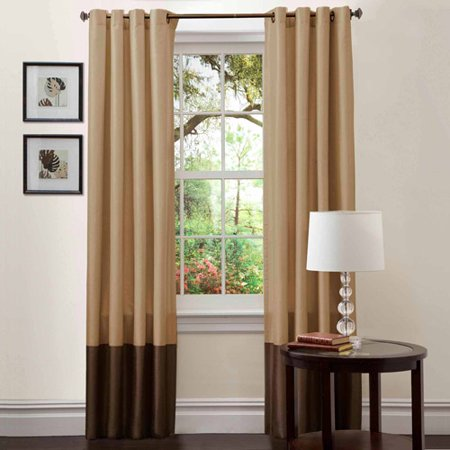 Prima Taupe Chocolate Window Curtains Pair 54 X 108
