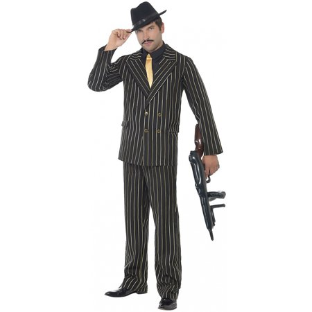 Gold Pinstripe Gangster Adult Costume - Large](Pinstripe Suit Costume)