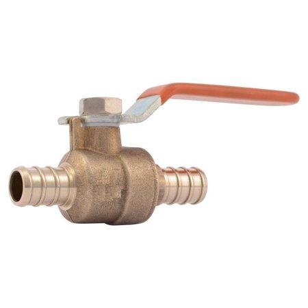PEX 1/2 inch Full Port Lead Free Barbed Ball Valve - Set of 1 pc/Brass / (Barbed Port)