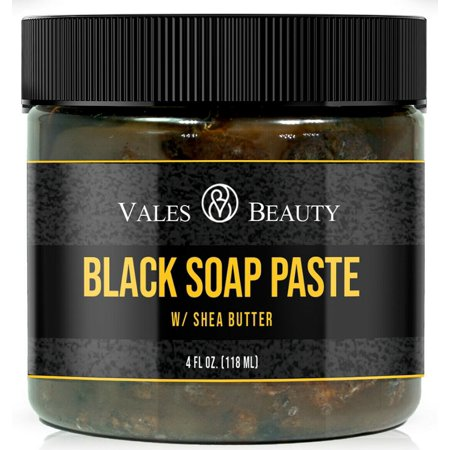 Raw African Black Soap Paste Body & Face Wash 4 Oz For Acne Scars Stretch