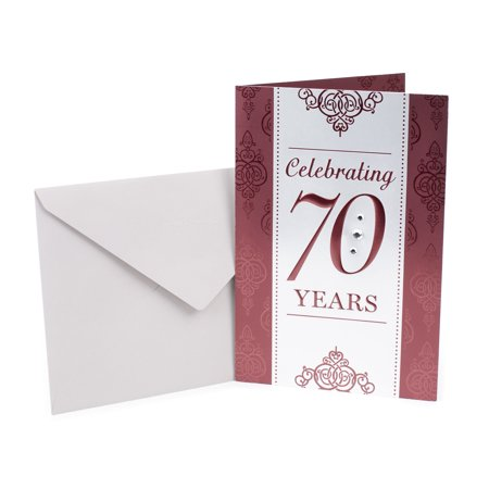 Hallmark 70th Birthday Greeting Card (Scrollwork Pattern) - Cheap 70th Birthday Invitations