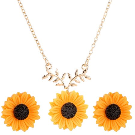 KABOER Sunflower Pearl Leaf Necklace Sunflower Designed Earrings Pendant for Mother's Day Women's (Sunflower Necklace Earrings)