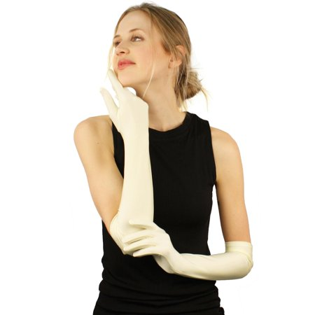 "Elegant Satin Matte Finish Stretchy 19"" Above Elbow Length Dress Gloves Off White"