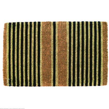 Entryways Ticking Stripes Black Extra Thick Coconut Fiber Doormat Black Entry Door