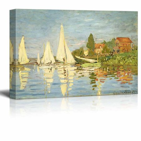 Famous Art Reproductions - wall26 Regattas at Argenteuil by Claude Monet - Canvas Print Wall Art Famous Painting Reproduction - 16