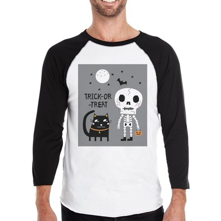 Skeleton Black Cat Halloween Costume T-Shirt Baseball Raglan Shirt - Emory Baseball Halloween