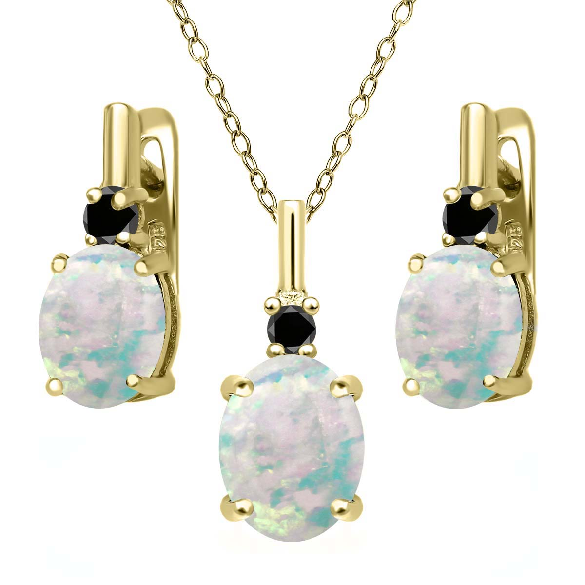4.87 Ct Simulated Opal Black Diamond 18K Yellow Gold Plated Silver Jewelry Set by