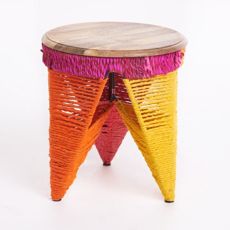 Alvin Fabric End Table With Mango Wood Top  Multi Colored