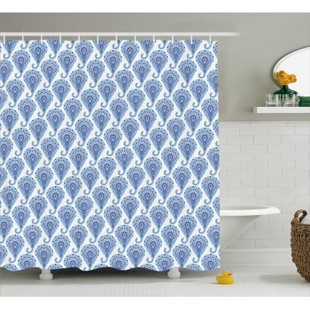 Indigo Shower Curtain Indian Paisley Decor With Floral Leaves Print On Raindrops Fabric Bathroom