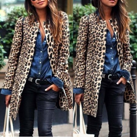 Cheetah Print Cardigan - Mosunx Women Leopard Sexy Winter Warm New Wind Coat Cardigan Leopard Print Long Coat