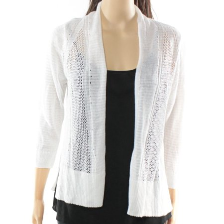 Alfani NEW White Mixed-Stitch Women's Size Small S Cardigan Sweater