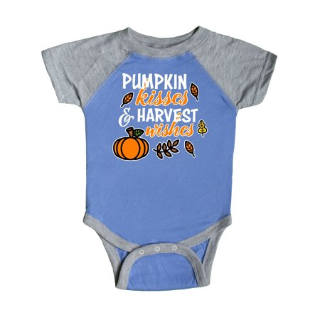 Pumpkin Kisses & Harvest Wishes with Pumpkin and Fall Leaves Infant Creeper](Fall Infant Photo Ideas)