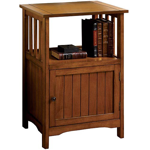 Venetian Mission Style Solid Wood Single-Door Telephone Stand, Antique Oak