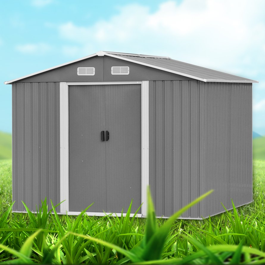 257x205x192cm, Outdoor Garden Utility Tool, Storage Shed, Weatherproof Backyard Lawn Building, Shelter Sloped Roof