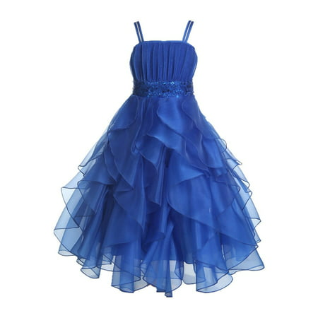 Ekidsbridal Formal Satin Organza Sequin Spaghetti-Straps Flower Girl Dress Bridesmaid Wedding Pageant Toddler Recital Holiday Communion Birthday Baptism Occasions 009 - Party Dresses For Girls 7 14