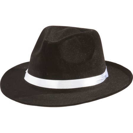 Suit Yourself Black Gangster Hat for Adults, One Size, Fabric and Felt Fedora Features a White Hatband and a Flat Brim Vel Felt Fedora
