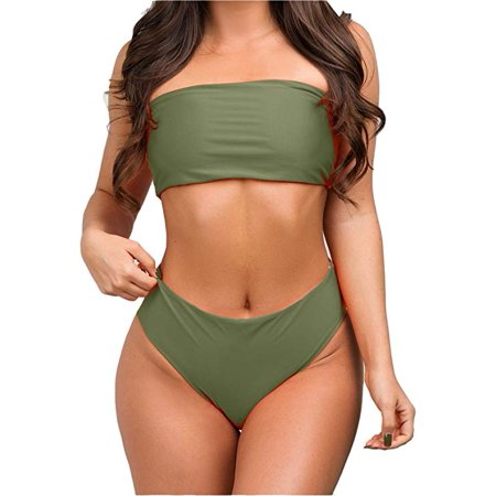 7f8b995005 Sexy Strapless Bikini Set Women Push-Up High Waist Swimsuit Beach Swimwear  Bathing Suit - Walmart.com