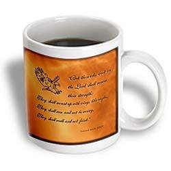 3dRose Isaiah 40 31 Bible verse with eagle engraved into a copper background , Ceramic Mug, 11-ounce