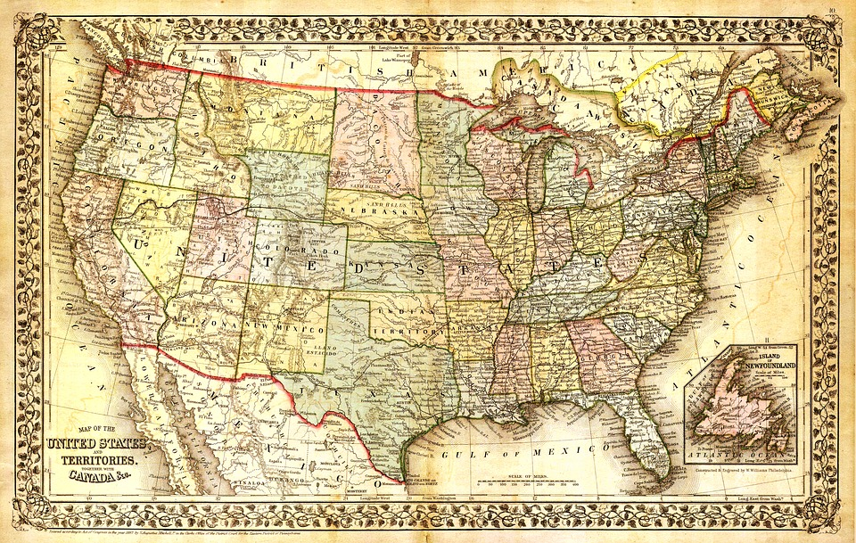 Map Of Old America.Framed Art For Your Wall North America Map Map Old Map United