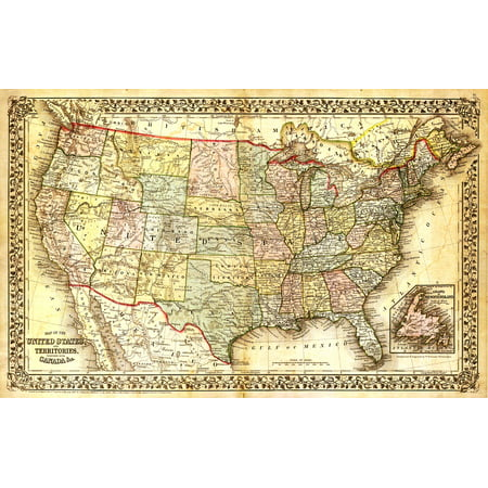 Peel-n-Stick Poster of North America Map Map Old Map United States ...