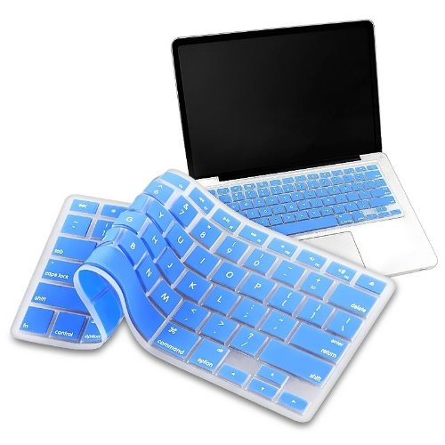 "Mosiso - Russian Language Keyboard Cover Silicone Skin for MacBook Pro 13"" 15"" 17"" (with or w/out Retina Display) iMac and MacBook Air 13"" - Russian/English (Aqua Blue)"
