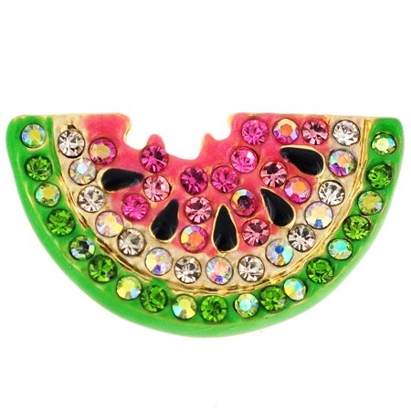 Swarovski Crystal Heart Brooch - Pink Watermelon Swarovski Crystal Pin Brooch