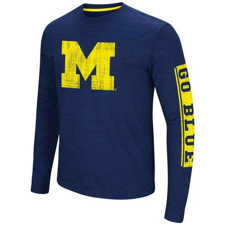 Michigan Wolverines Colosseum Sky Box L/S T-Shirt - Navy - Logo