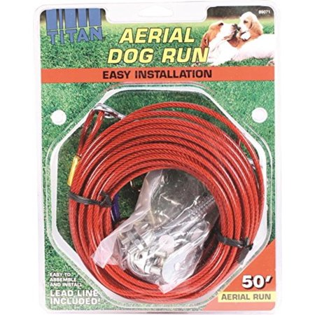 50 Cable Trolley (Titan Aerial Dog Run Dog Trolley Tie Out Cable System � 50 feet, Titan aerial dog run cable trolley system is recommended for dogs up to 80-pounds By Coastal Pet )