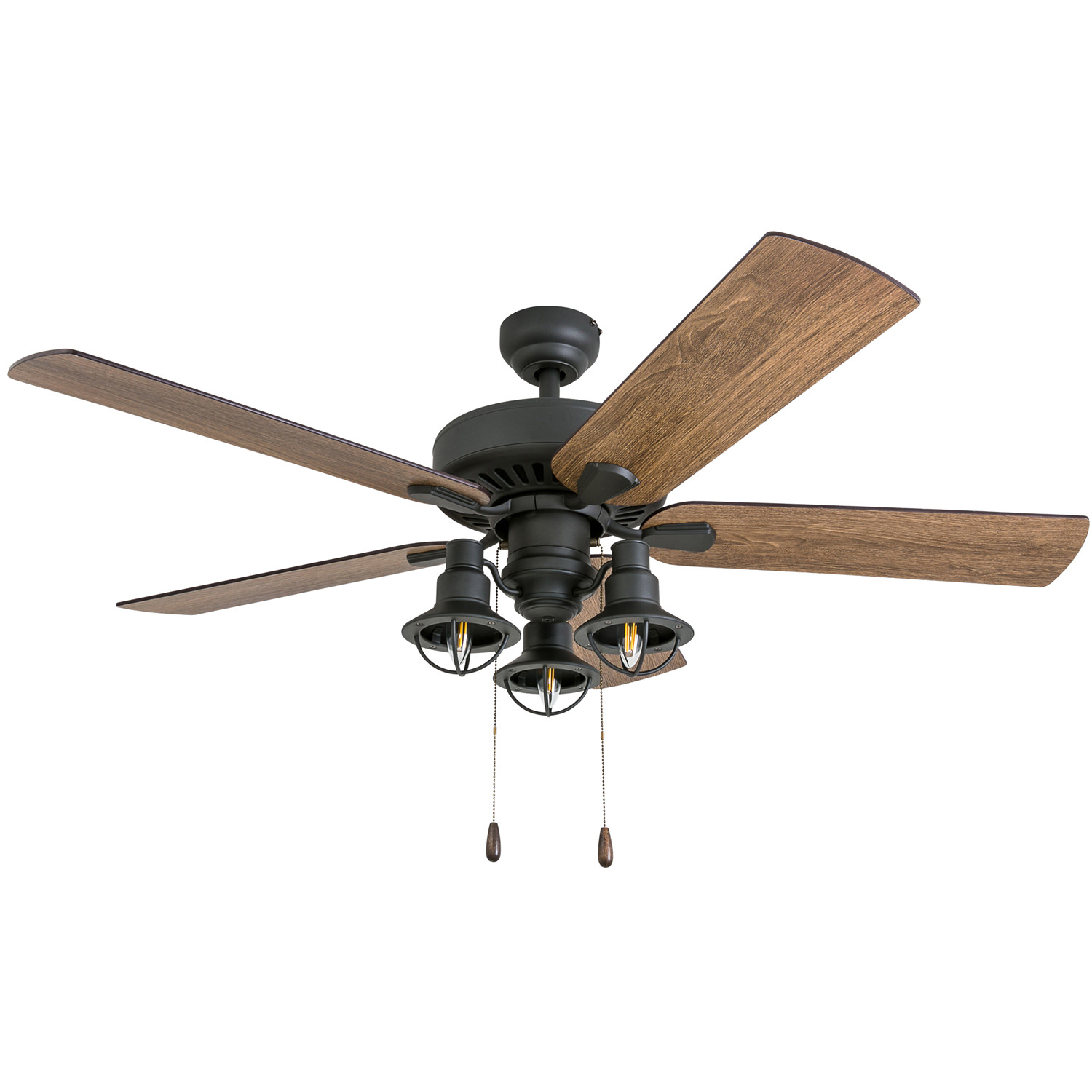 Prominence Home 50756-35 Ennora Farmhouse 52-Inch Aged Bronze Indoor Ceiling Fan, Lantern LED Multi-Arm Barnwood/Tumbleweed Blades and 3 speed remote