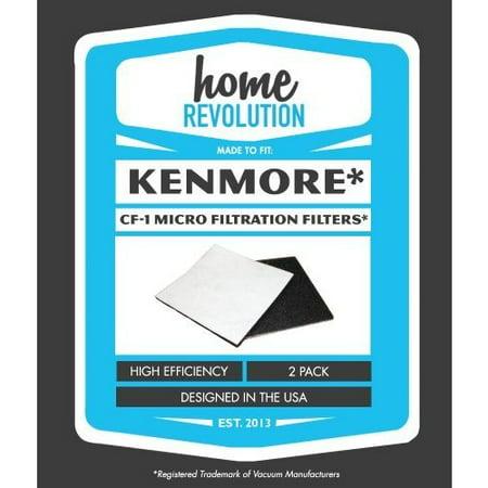 Kenmore Brands - Kenmore CF-1 Home Revolution Brand Progressive and Whispertone Foam Replacement Filters 2PK; Compare to Sears Kenmore Vacuum Part # 86883, CF-1 (CF1), 20-86883 (2086883), 4370616, 8175084, 20-40321, 2040321, 40321, Ultracare Kenmore 610461 filters, Panasonic MCV9568, AC37KAKTZ000