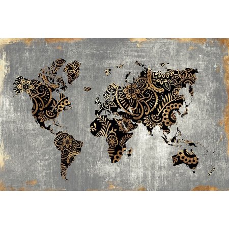 Gold World Map Poster.Gold World Map Poster Print By Eva Watts Walmart Com