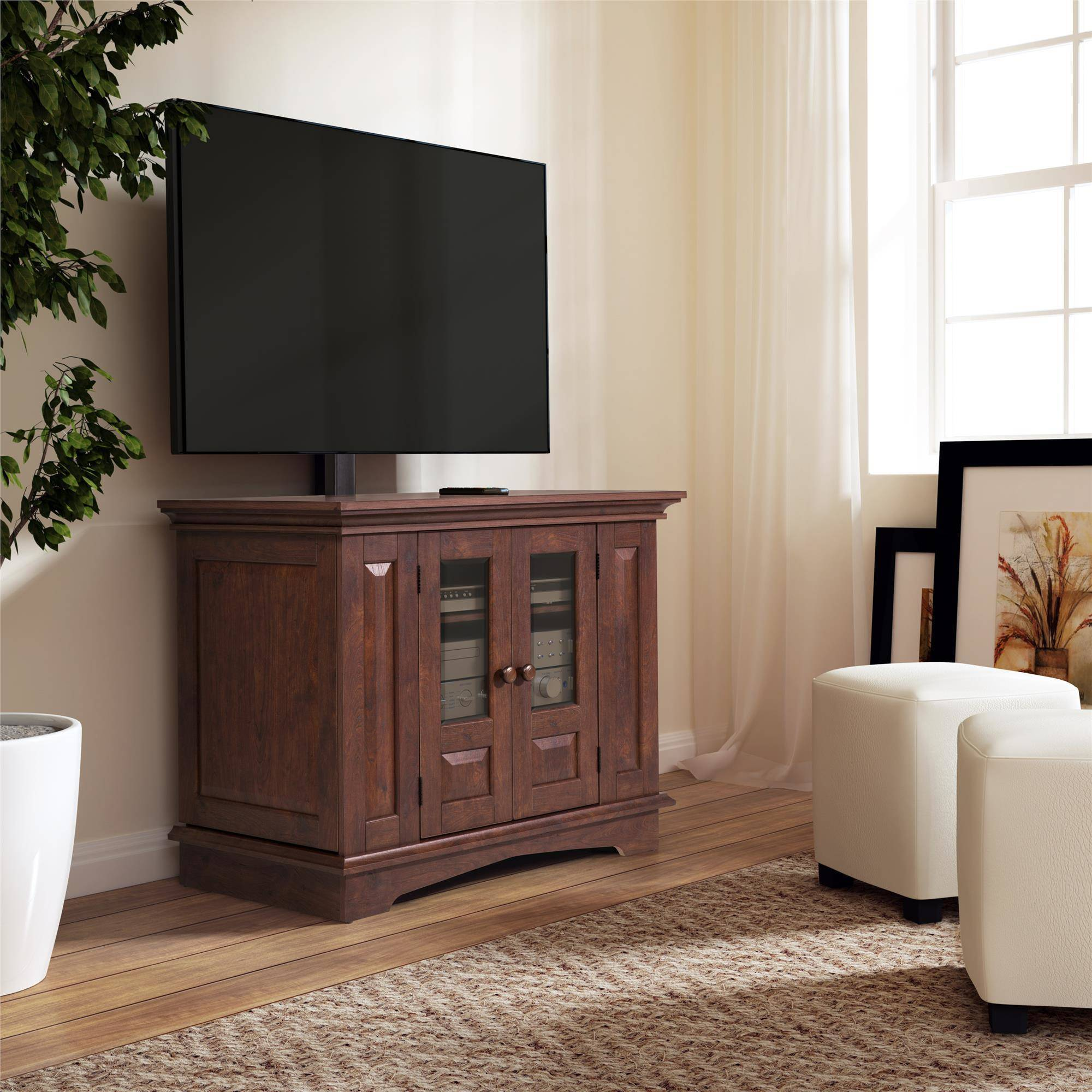 Willow Mountain Cherry TV Stand with Mount, for TVs up to 37""