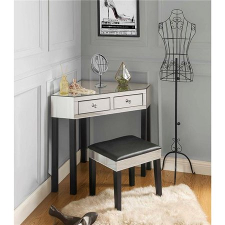 Posh Living Jf97 07bk Perry Mirrored Corner Makeup Vanity Table With Stool Black